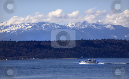 Motor Yacht Puget Sound Edmonds Washington stock photo, Motor Yacht, Puget Sound, Edmonds, Washington, snow, snowy, Olympic, Mountains, Snohomish, County by William Perry