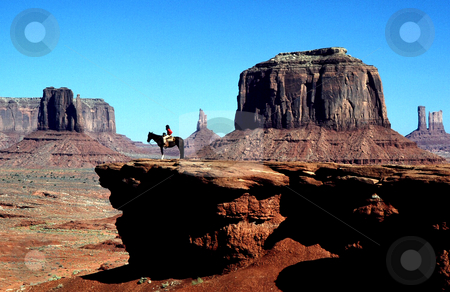 A Navajo at John Ford Point, Monument Valley, Arizona stock photo, USA, Arizona, Monument Valley, John Ford Point, Young Navajo Indian by David Ryan