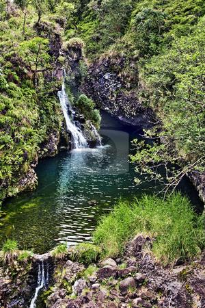 Hidden Falls stock photo, Small waterfall fills a pool along Maui's rainy north coast by Bart Everett
