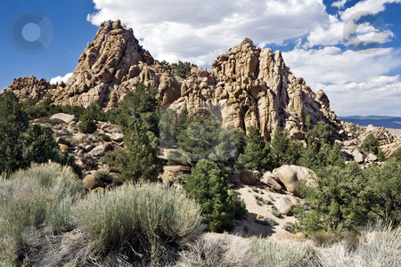 Benton Range stock photo, Rock formations loom above the Benton mountain range in California's Eastern Sierra by Bart Everett