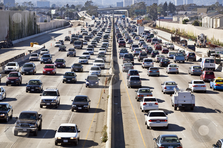 Los Angeles Freeway Traffic--the 405 stock photo, Cars and trucks choke the San Diego Freeway in both directions during the afternoon rush hour in Los Angeles near an interchange by Bart Everett