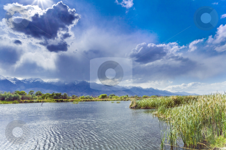 Billy Pond Sunburst stock photo, Storm clounds over the Sierra cast shadows over a pond in the Owens Valley of California by Bart Everett