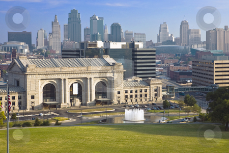 Union Station, Kansas City stock photo, Kansas City skyline backdrops the famed Union Station and memorial fountain by Bart Everett