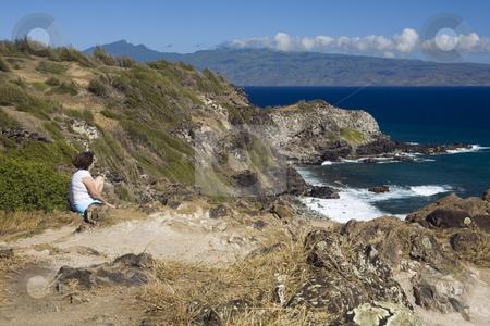 Maui Dreaming stock photo, Woman enjoys a view of Molokai from Maui's northwestern coast by Bart Everett