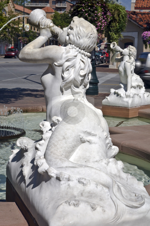 Trumpet Fountain, Kansas City stock photo, Mermaids spew water from trumpets at a fountain in the Plaza district of Kansas City by Bart Everett