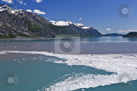 Glacier Bay Passage stock photo, Ice and debris from calving glaciers colors the water in Alaska's Glacier Bay by Bart Everett