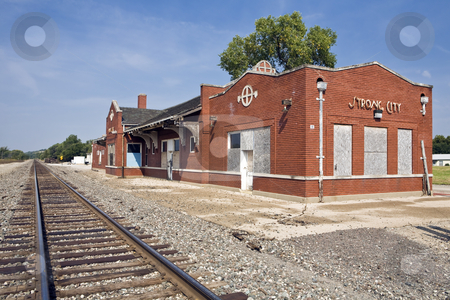 Railroad Depot stock photo, Small-town railway station sits along a single track in Strong City, Kansas by Bart Everett