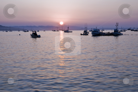Avila Beach Fishing Harbor at Sunrise stock photo, Fishing boats lying at anchor are silhouetted as sun rises over a harbor near Avila Beach, on California's Central Coast by Bart Everett