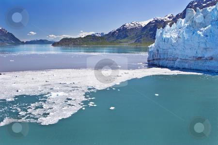 Glacier Bay stock photo, Ice and debris from a calving glacier dot scenic Glacier Bay in Alaska by Bart Everett