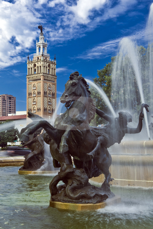 J.C. Nichols Fountain stock photo, Detail of J.C. Nichols Fountain, Country Club Plaza in Kansas City with Moorish tower by Bart Everett