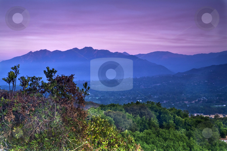 Overlooking the Ojai Valley stock photo, View looking west at sunrise from the Ojai Valley Rotary monument on California Highway 150 by Bart Everett