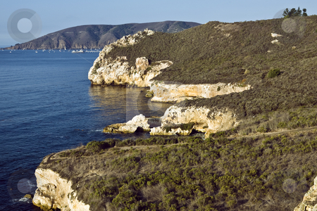 Avila Beach Cliffs stock photo, Cliffs rise abruptly from the ocean near Avila Beach, California by Bart Everett