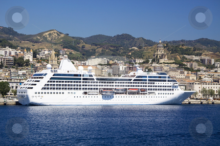 Cruise ship of the Sicilian shore stock photo, Luxury cruise ship of the shore of Sicilian in Italy by Daniel Kafer