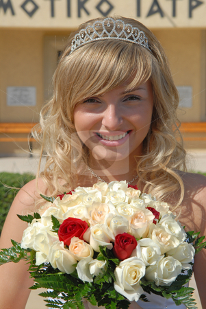 Happy Bride with Wedding flowers stock photo, Beautiful blond Bride with the wedding flowers.  Was shot 24.10.2007 at Cyprus. by Sergey Kuznetsov
