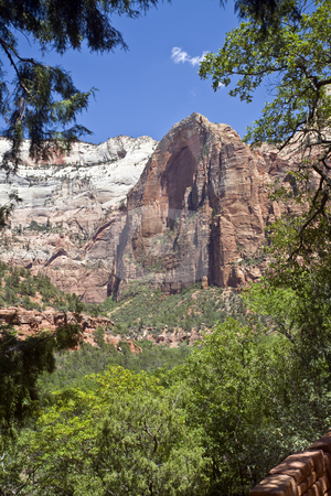 Angels Landing, Zion National Park stock photo, Angels Landing, a distinctive rock formation in Zion National Park by Bart Everett