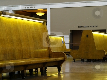 Waiting room stock photo, Old fashioned bench seating at a train station by Cora Reed