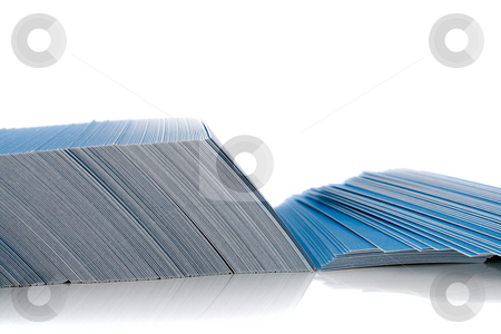 Bunch of blue business cards stock photo, Bunch of blue business cards, isolated on white background, with shadow by Natalia Banegas