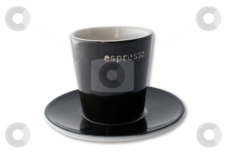 Espresso cup and plate isolated on white background stock photo, Dark brown espresso cup and plate isolated on a white background. by Natalia Banegas