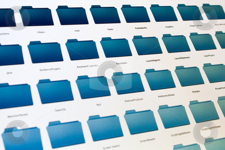 Computer file system on black screen stock photo, Close-up of a list of files and folders on black computer screen. by Natalia Banegas