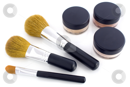 Make-up brushes and powder jars stock photo, A set of three make-up brushes and three jars with mineral powder foundation.  Isolated on white background, with shadow. by Natalia Banegas