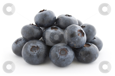 A pile of fresh blueberries stock photo, A pile of fresh blueberries isolated on white background with shadow. by Natalia Banegas