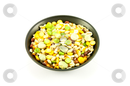 Soup Pulses in Small Black Bowl stock photo, Assorted soup pulses in a small round dish with a white background by Keith Wilson