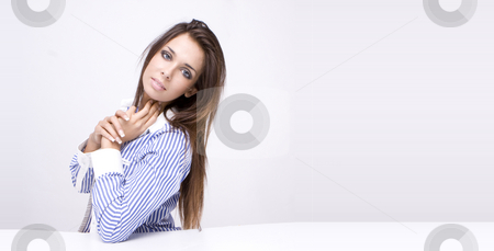 Sexy woman stock photo, Portrait of an attractive young woman, isolated on a white background.. by Piotr Stryjewski