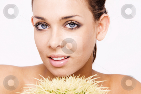 Beauty face stock photo, Beautiful Smiling Woman with the cactus plant by Piotr Stryjewski