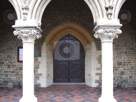 Church Front Doors and Stone Pillars stock photo, Church Front Doors and Stone Pillars by Stephen Lambourne