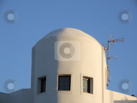 Abstract Houses Blue Sky stock photo, Abstract Houses Blue Sky by Stephen Lambourne