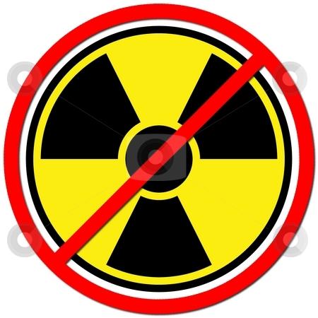 Against Atom stock photo, Yellow sign against radiation on white background. by Henrik Lehnerer