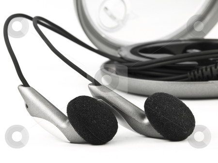 Ear Bud Headphones stock photo, Earbud Headphones on white with case by John Teeter