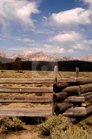 Sawtooth Mountains stock photo, Idaho, Custer County, Sawtooth Mountains, Split Rail Fence by David Ryan