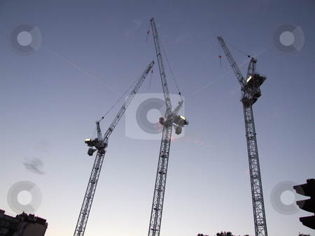 Building Cranes Blue Sky stock photo, Building Cranes Blue Sky by Stephen Lambourne