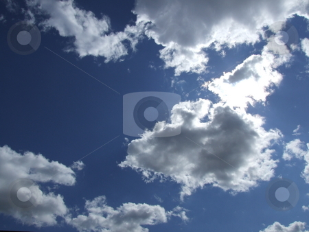 Puffy Clouds Blue Sky stock photo, Puffy Clouds Blue Sky by Stephen Lambourne