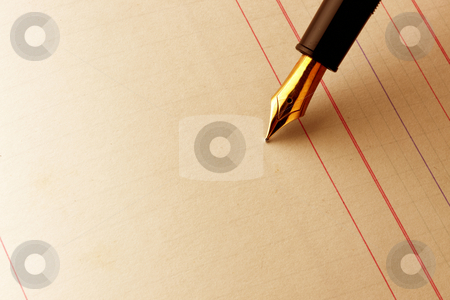 Fountain pen on ledger paper stock photo, Fountain pen about to write on ledger book by James Barber
