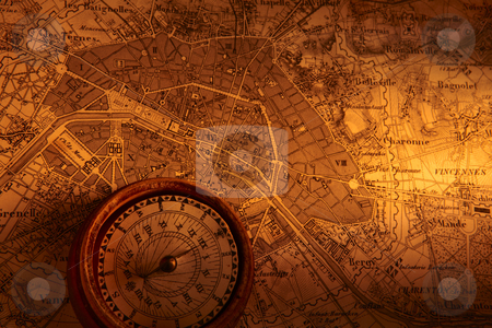 Antique Map stock photo, Old map of Paris with compass by James Barber