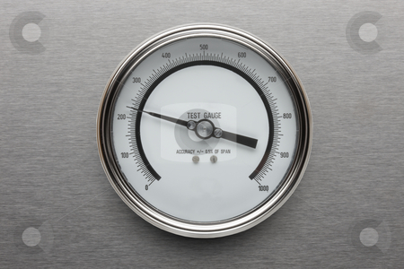 Pressure gauge stock photo, Pressure gauge shot on stainless steel background by James Barber