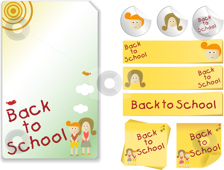Back to School  Kit stock vector clipart, Set of Back to School with note, sticker by AUGUSTO CABRAL