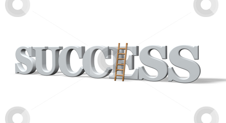 Succes stock photo, The word success and a ladder on white background - 3dillustration by J?