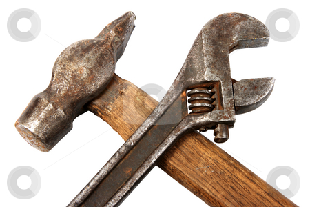 Hammer and spanner. stock photo, Hammer and spanner. Old and dirty condition. Under construction symbol. Isolated on white. by Andrey Khritin