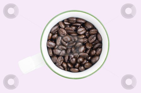 Coffee Beans stock photo, Fair Trade Pure Columbian whole coffee beans in cup with clipping path by Stephen Meese