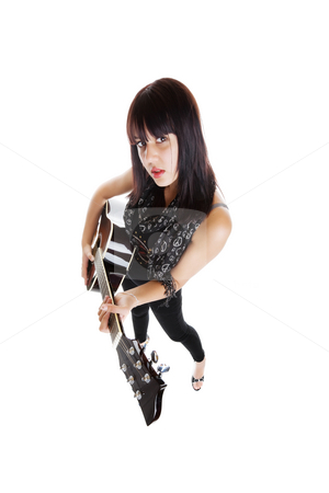 Guitarist stock photo, Wide angle view of a pretty musician with guitar on white background by Steve Mcsweeny