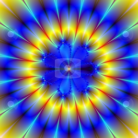 Blue and Yellow Flower stock photo, Computer generated image with a floral pattern in blue and yellow. by Colin Forrest