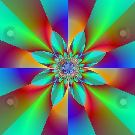 Green And Blue Absract Flower stock photo, Computer generated fractal image  with an abstract floral motif on a green and blue design. by Colin Forrest