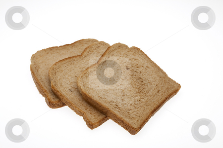 Slices of bread for toast with path stock photo, Slices of total milling bread for toast with path by Marios Karampalis