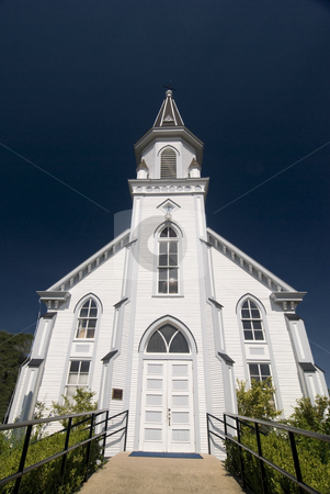 Front View of the Church stock photo, Front architectural view of a classical white wooden church. by Charles Buegeler