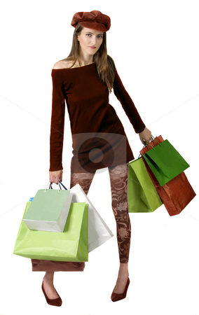 Shopping Mania stock photo, Shopping mania isolated on white one person by Desislava Draganova