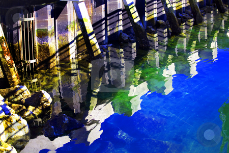 Pier Reflctions Abstract Edmonds Washington stock photo, Reflection Pier Abstract, Puget Sound, Edmonds, Washington by William Perry