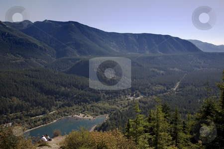 Rattlesnake Ledge and Lake, North Bend, Washington stock photo, Rattlesnake Ledge and Lake, North Bend, Washington State, Cascades, Hiking Up and Looking Down by William Perry